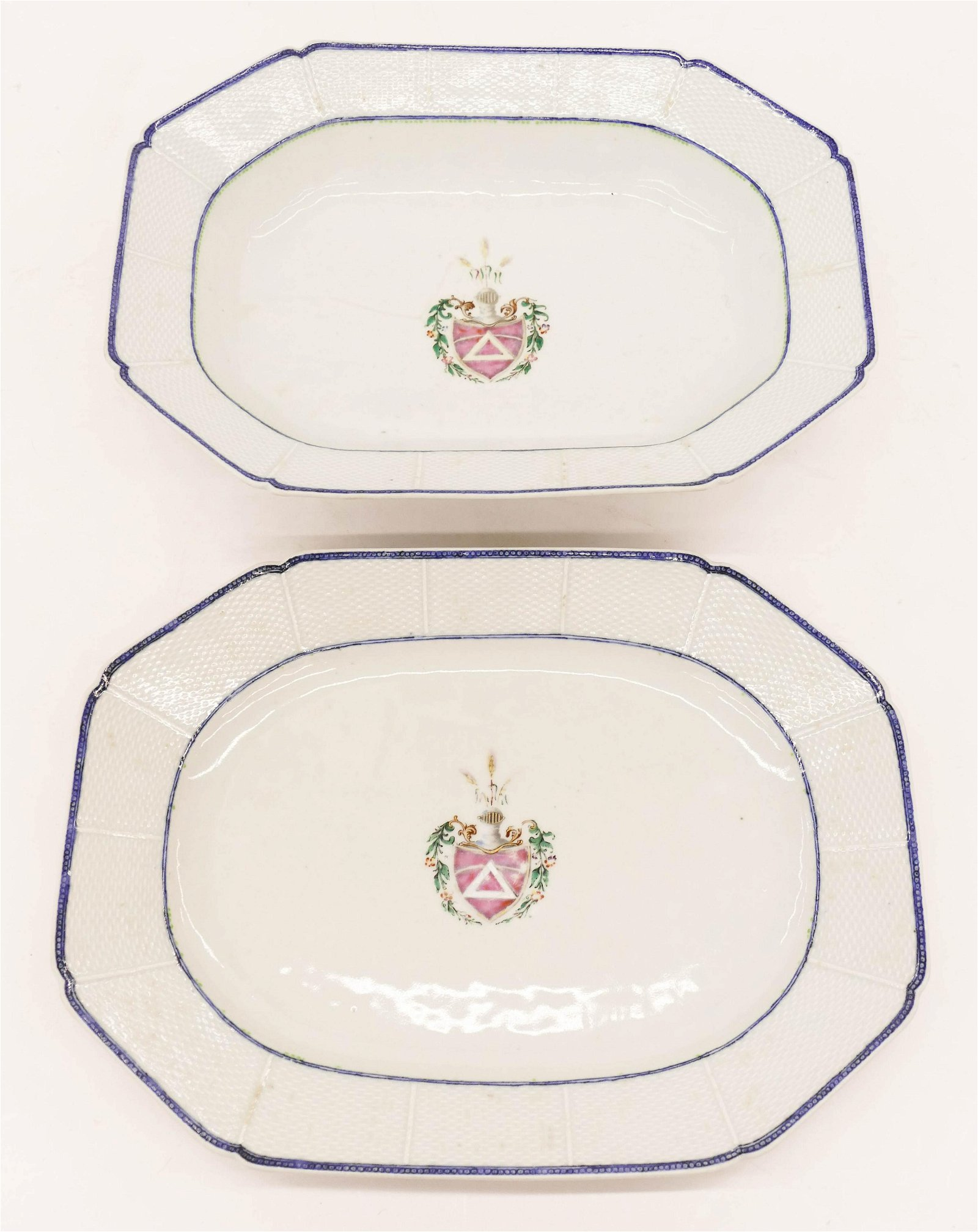 2pc Chinese Armorial Export Porcelain Platters.