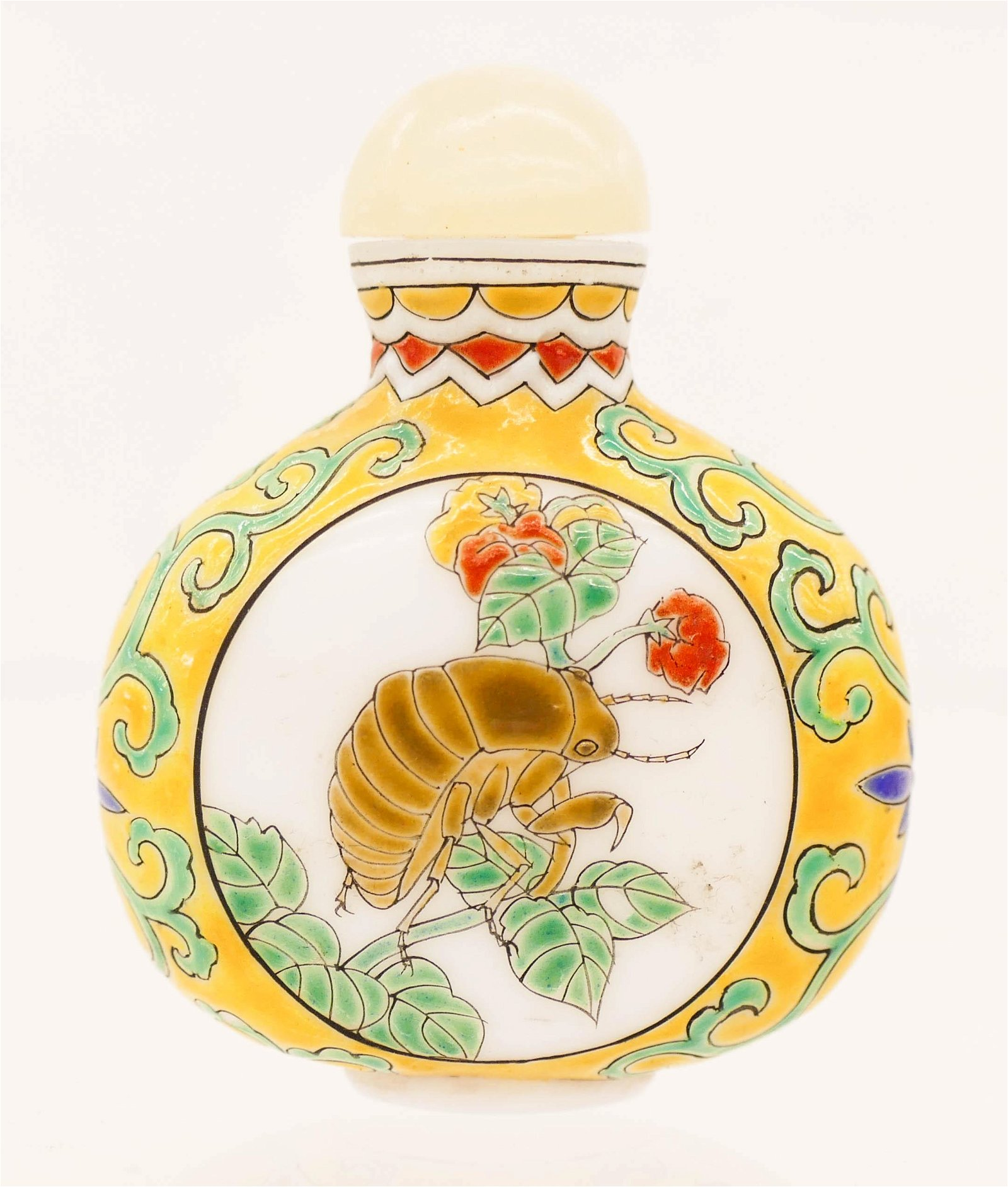Chinese Enameled Peking Glass Insect Snuff Bottle