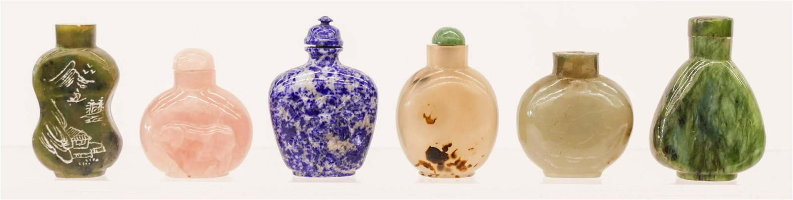 6pc Chinese Jade and Agate Snuff Bottles 2'' to 2.5''.