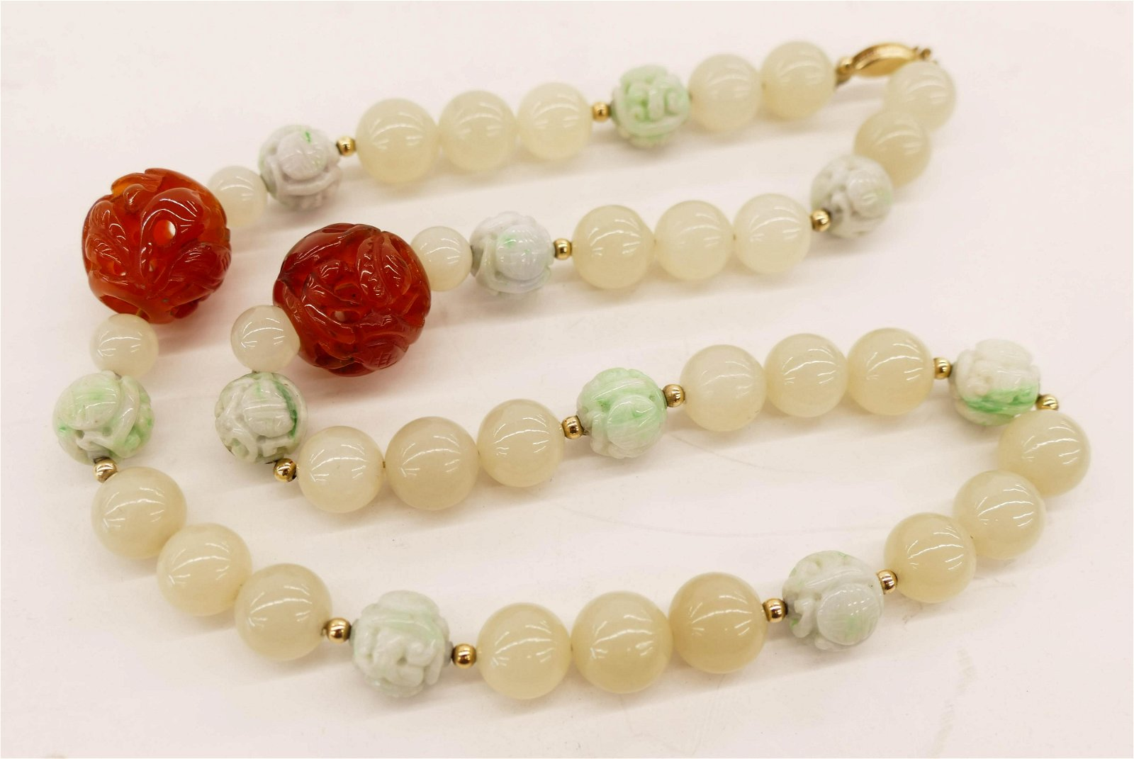 Chinese Jade and Carnelian Bead Necklace 20''. Includes