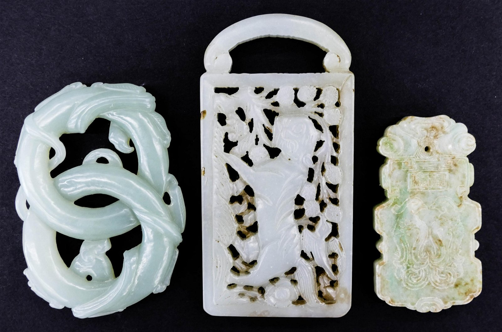 3pc Chinese Jade Pendants 2.25'' to 3.75''. Includes a