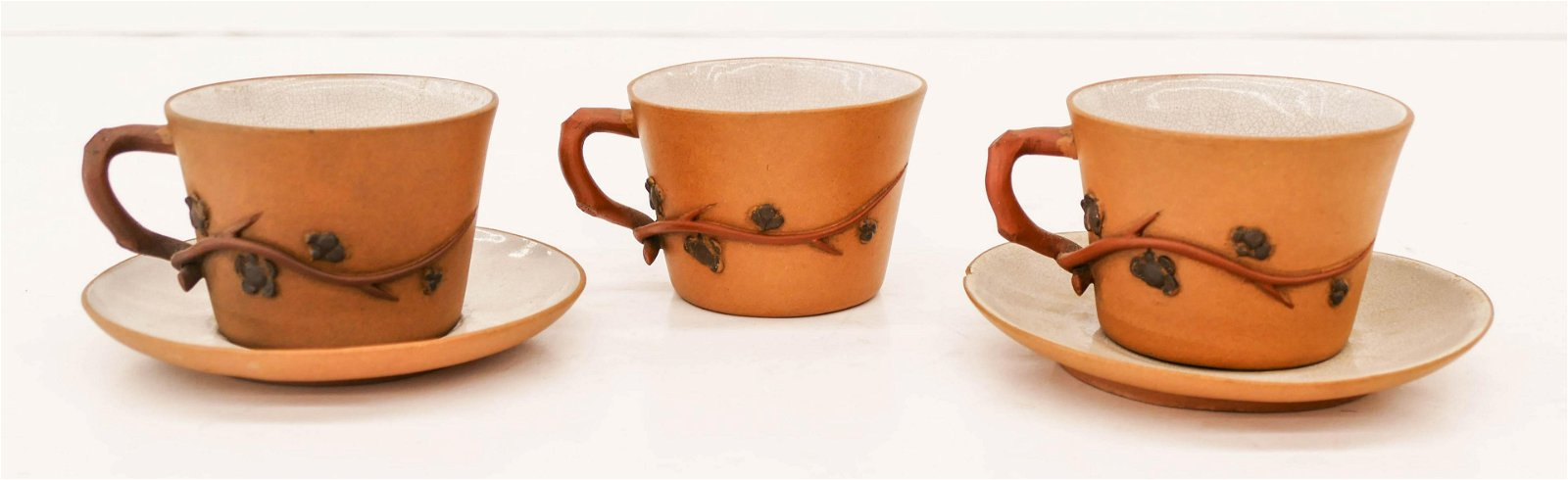 3pc Chinese Buff Colored Yixing Cup Saucers 2.5'x4.5''