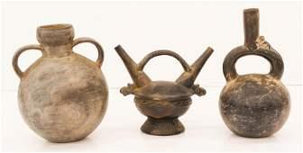 3pc Pre Columbian Black Ceramic Vessels Includes a