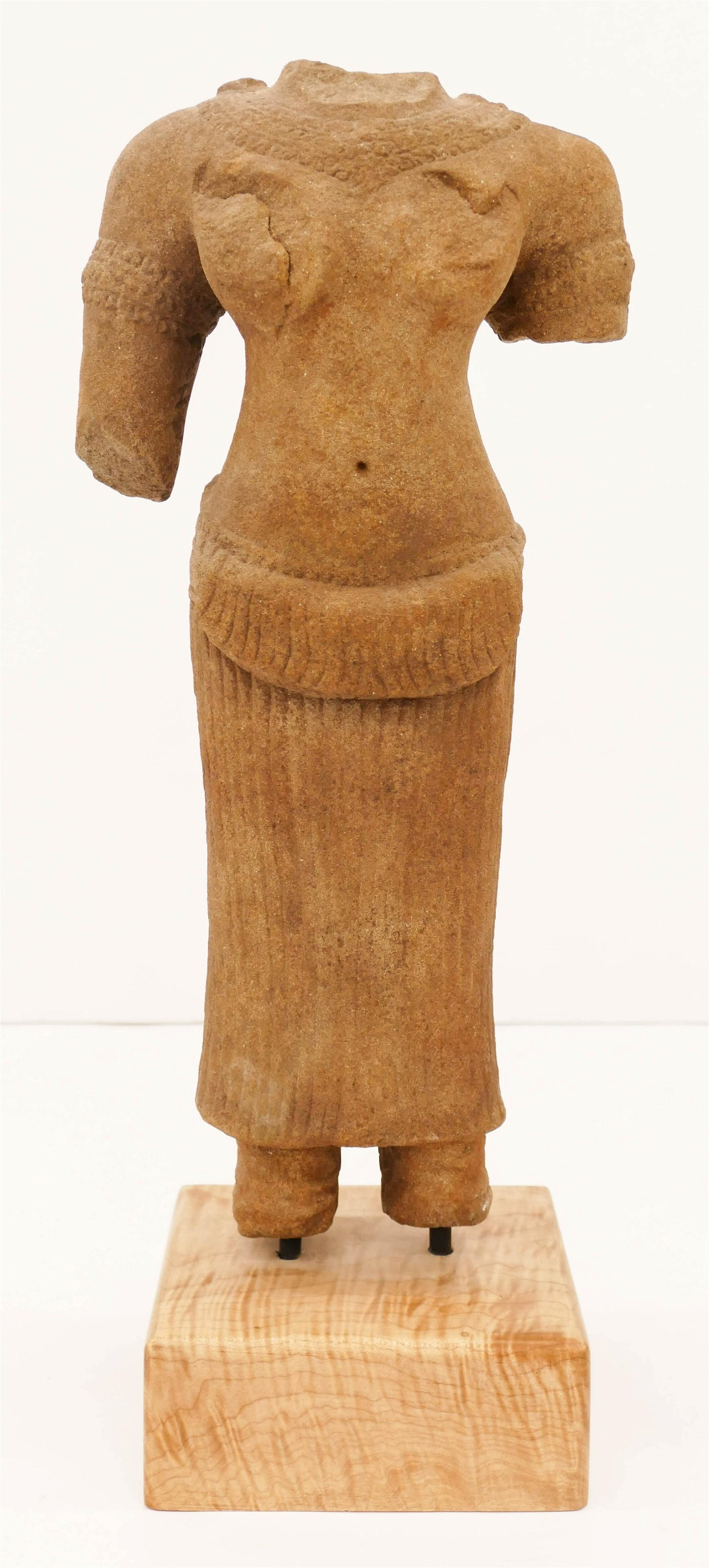 Ancient Khmer Stone Female Torso on Stand 19''x7.5''. A