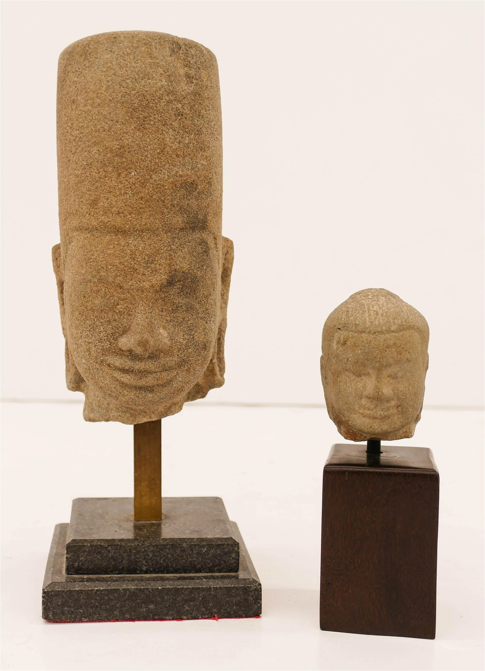2pc Ancient Khmer Stone Heads on Stands 10.5''x4'' and