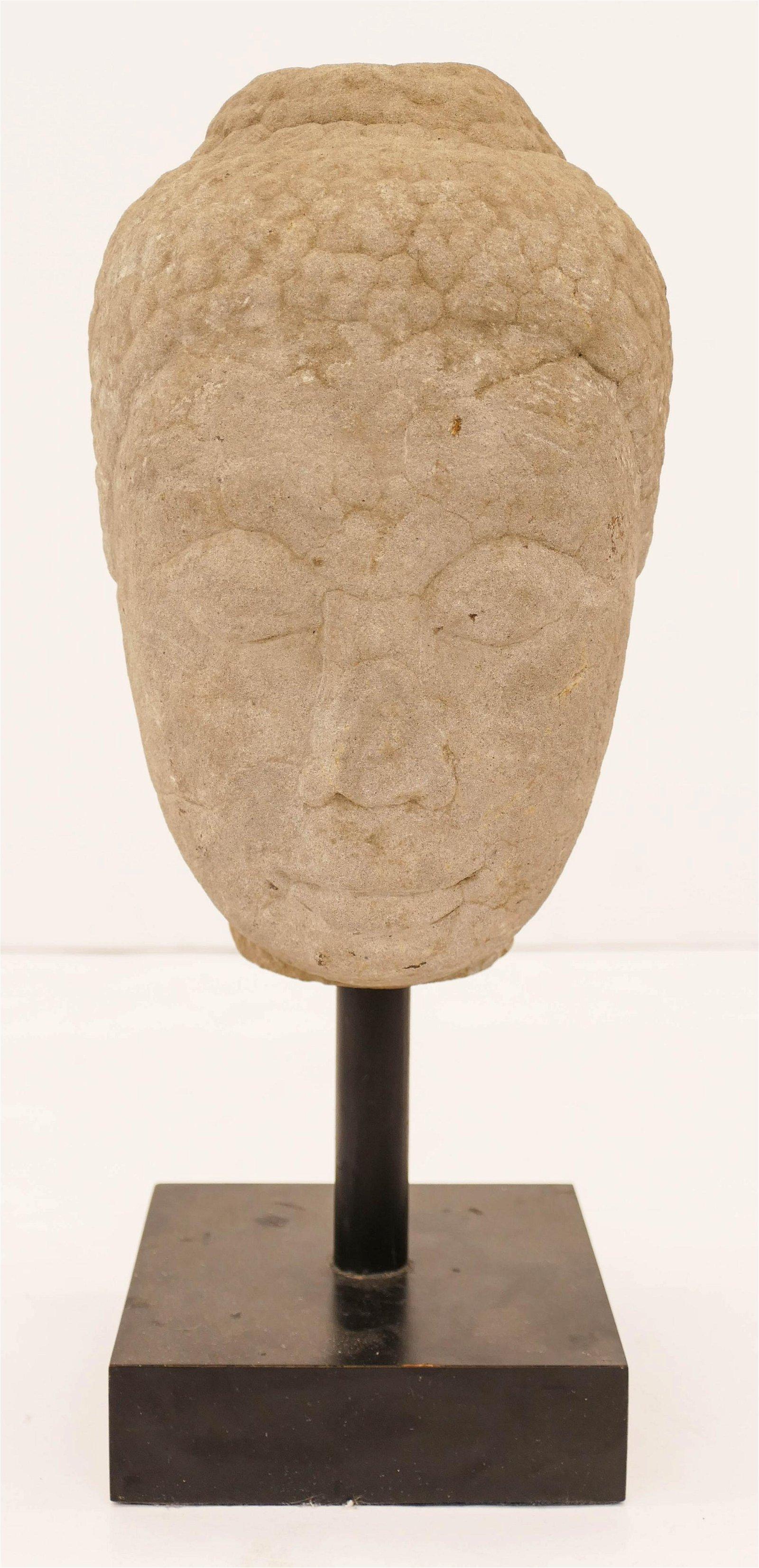 Thai 16th Cent. Stone Buddha Head on Stand 14''x6''. A
