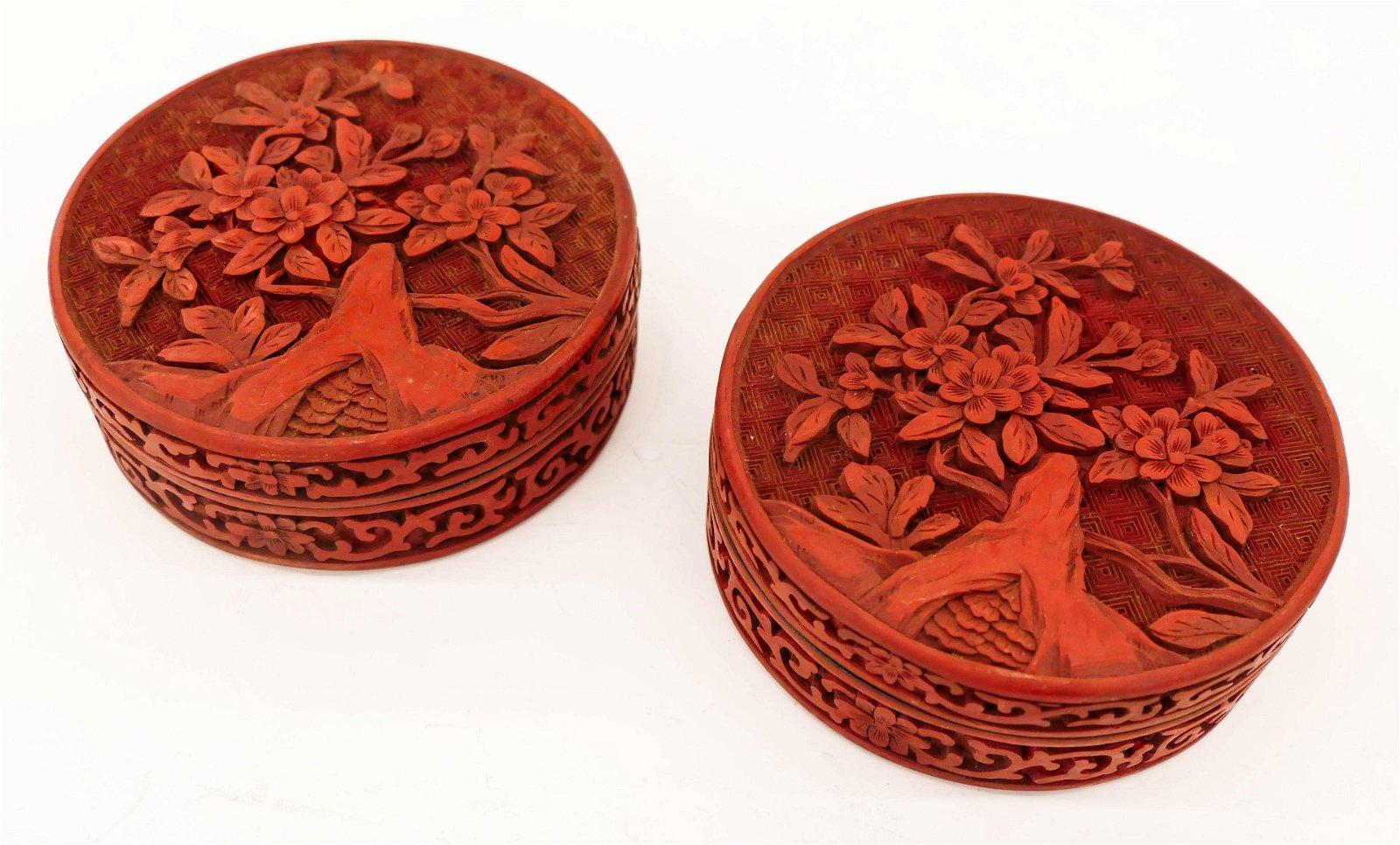 Pair Chinese Cinnabar Round Boxes 4''x1.5'' Each.