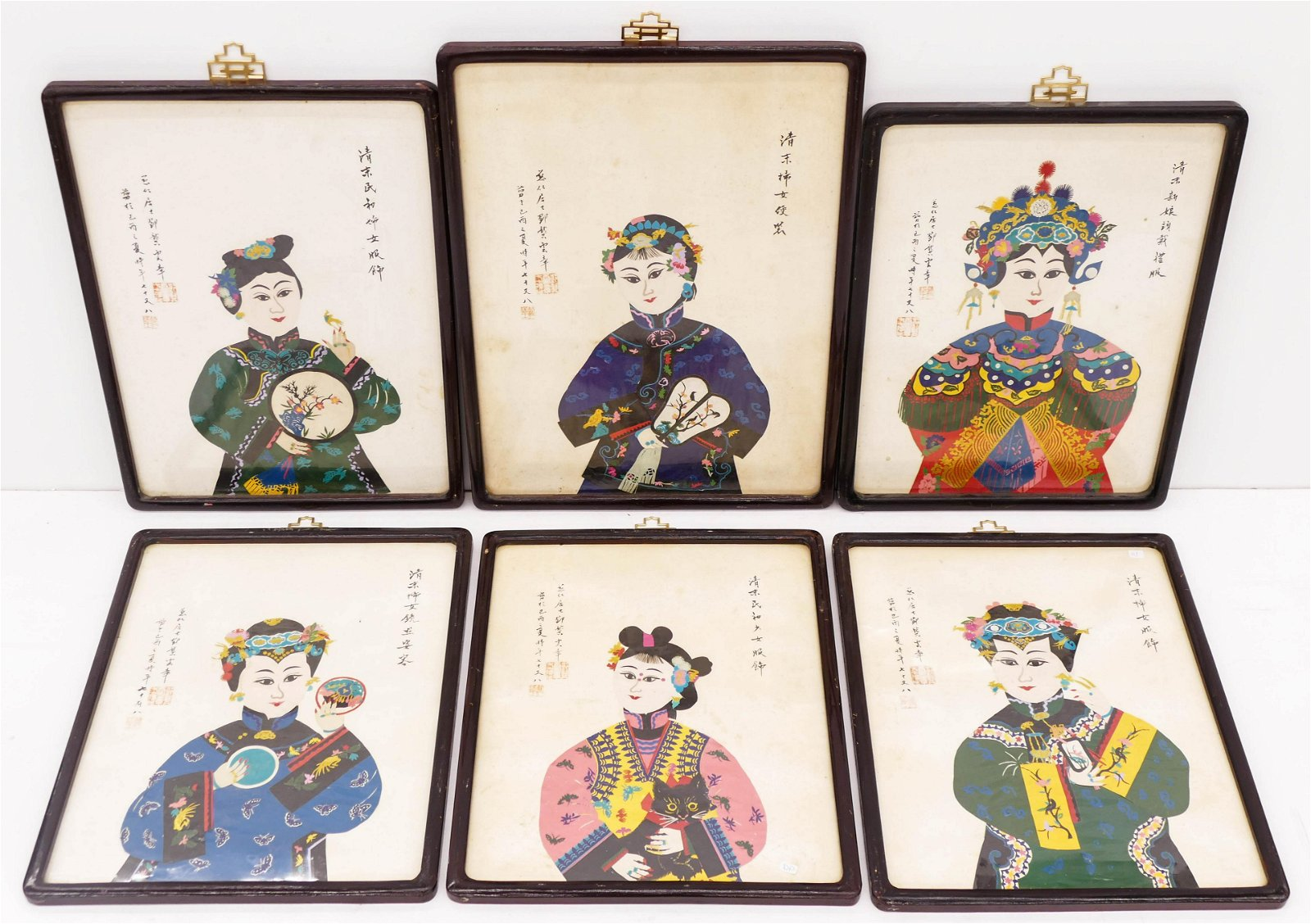6pc Chinese Grandma Teng Woodcut Artworks. Includes six