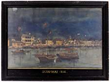 Shanghai 1856 Chinese Trade Port Painting Watercolor on
