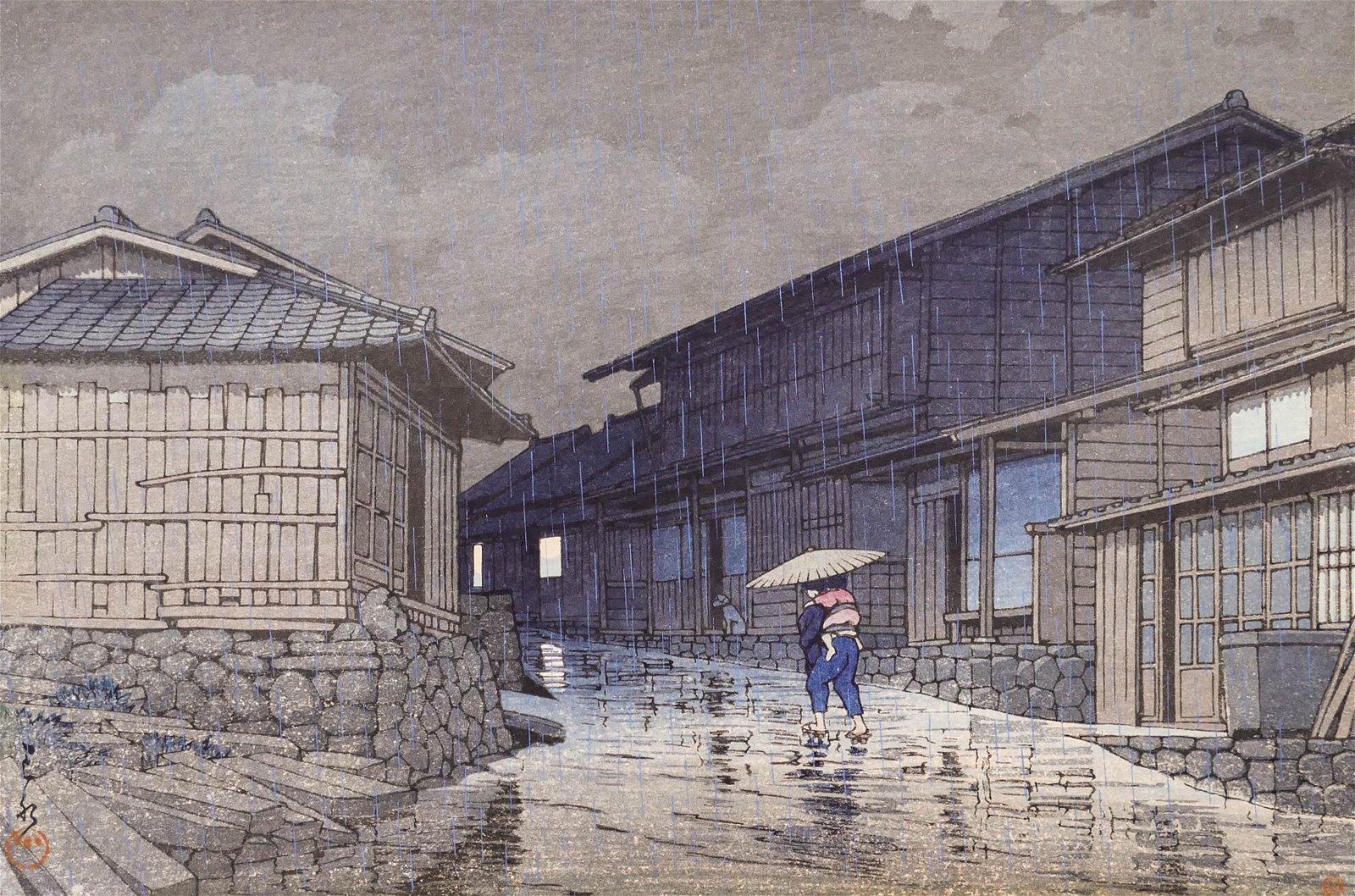 Kawase Hasui ''Rain at Nissaka'' Japanese Woodblock