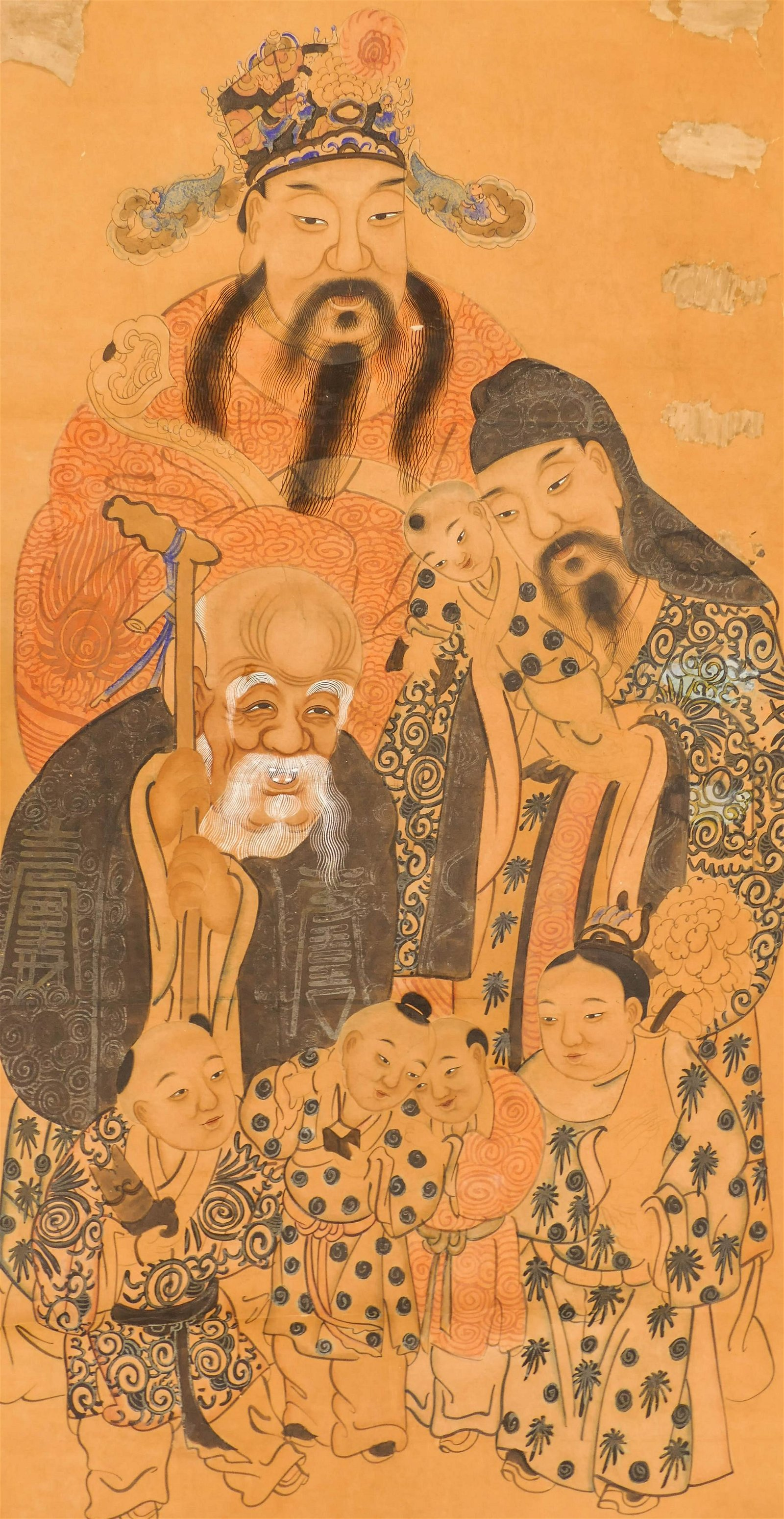 Chinese Qing Three Star Gods Ink on Paper Scroll