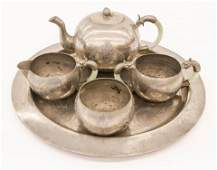 5pc Chinese Jade Handled Pewter Teaset with Tray.