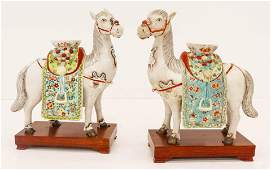 Pair Chinese Republic Horse Porcelain Candleholders on