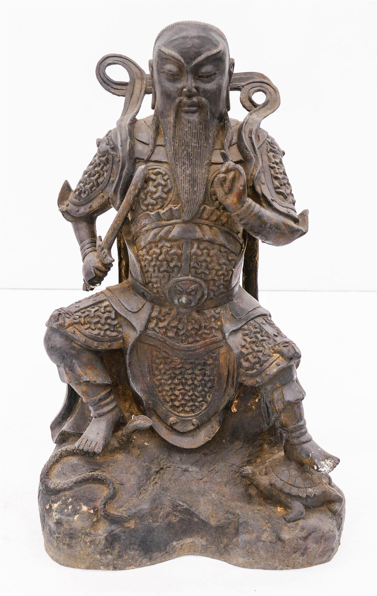 Chinese Lacquered Bronze Warrior 17''x11''. A parcel