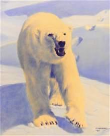Fred Machetanz (1908-2002 Alaska) ''Challenge!'' 1977