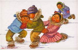Joan Arend Kickbush (1926-2006 Alaska) Eskimo Children
