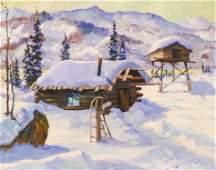 Harvey Goodale (1900-1980 Alaska) Cabin and Cache Oil