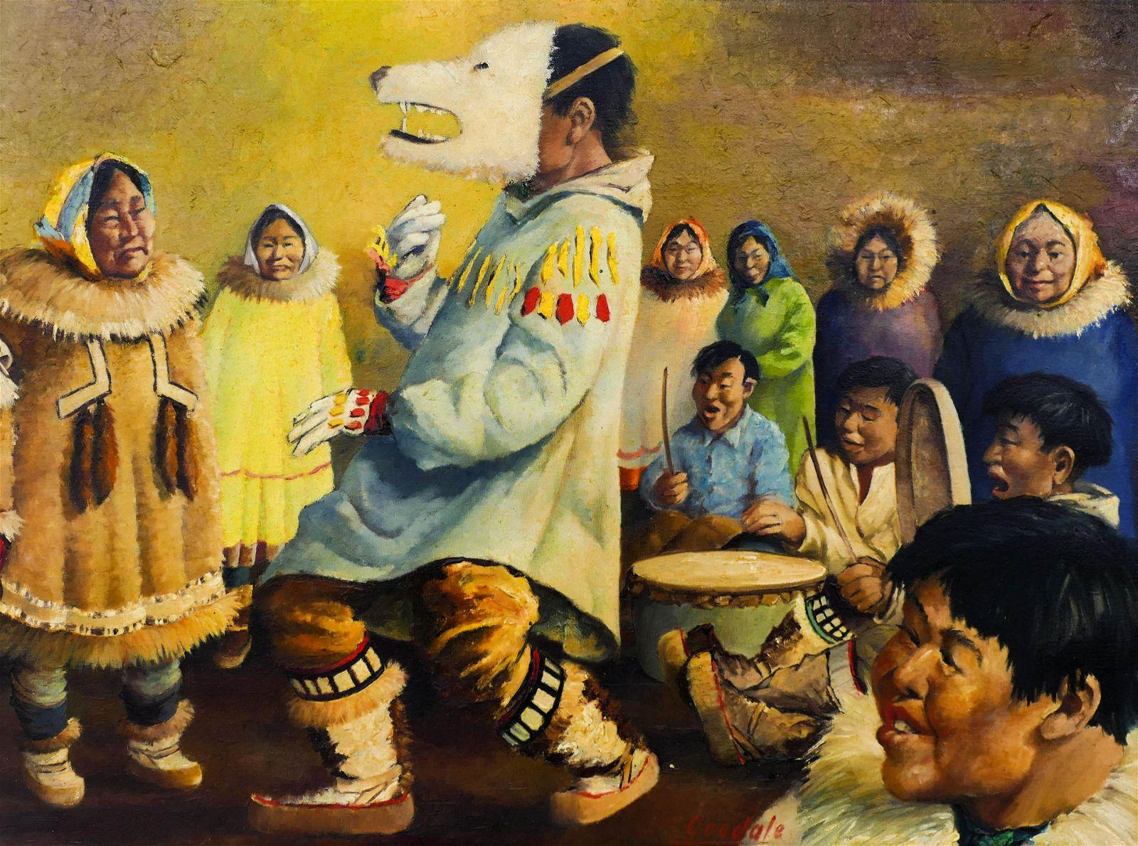 Harvey Goodale (1900-1980 Alaska) Eskimo Dance Oil on