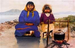 Harvey Goodale (1900-1980 Alaska) Eskimo Mother and