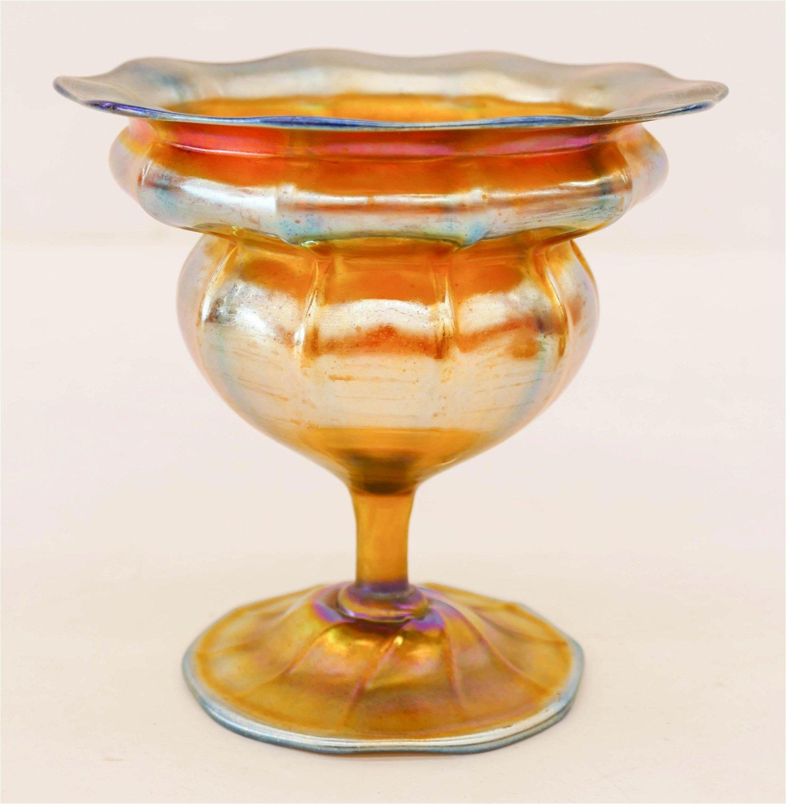 L.C. Tiffany Favrile Iridescent Glass Compote