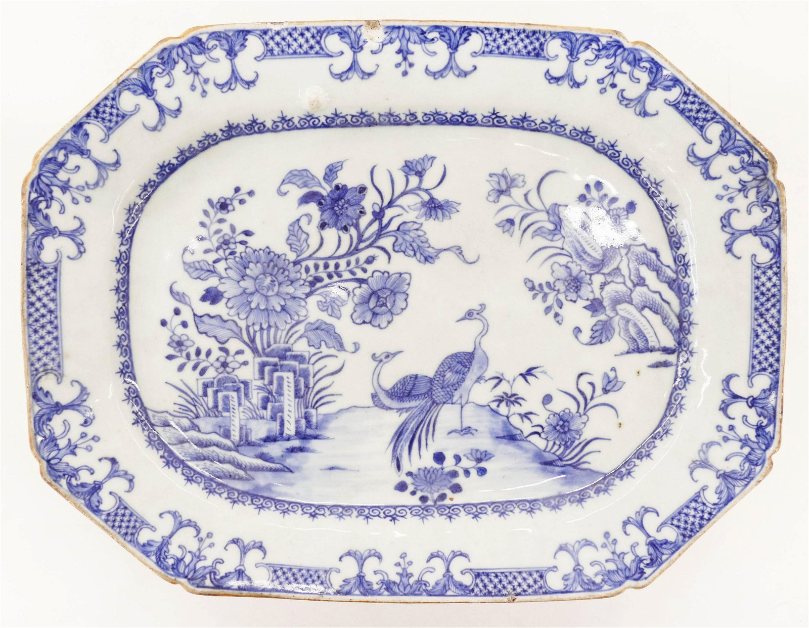 Chinese 18th Cent. Peacock Export Porcelain Platter