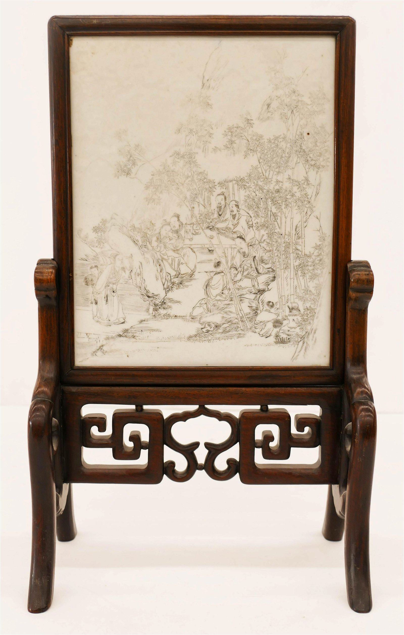 Chinese 19th Cent. Table Screen of Porcelain and