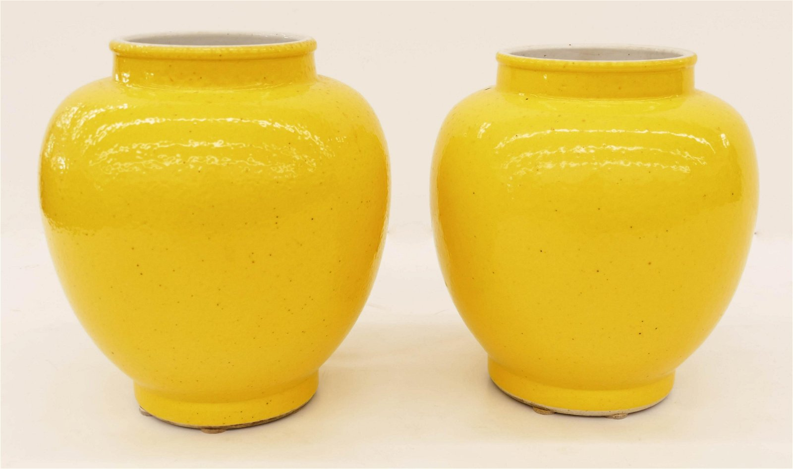 Pair of Chinese 19th Cent. Yellow Monochrome Porcelain