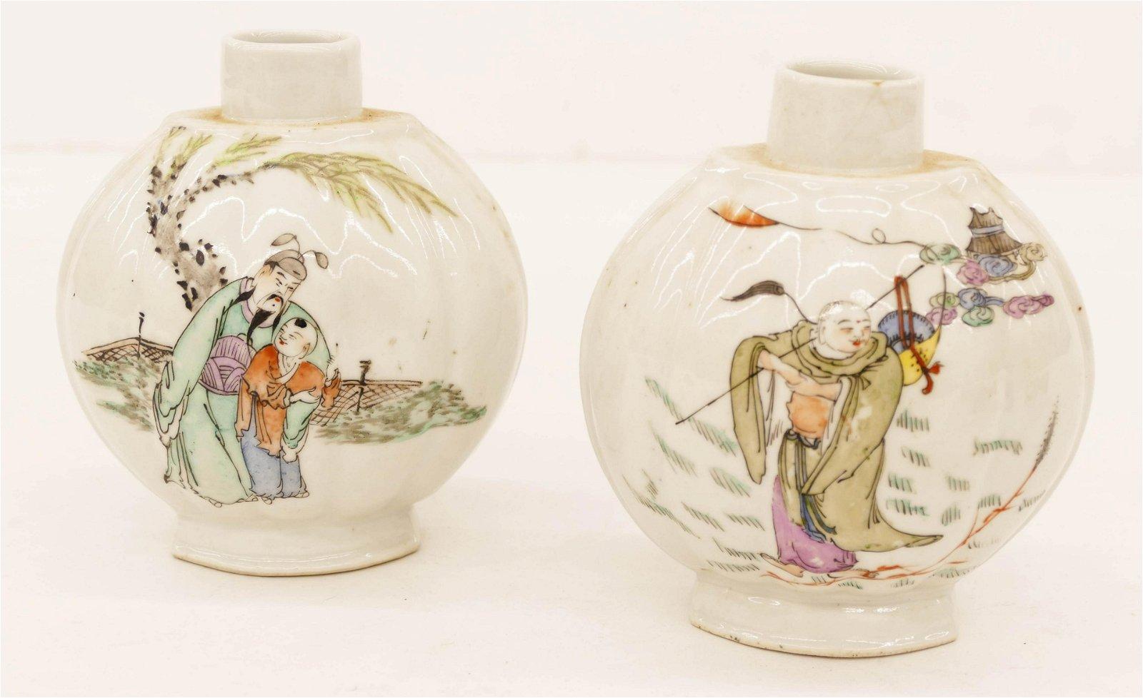 2pc Chinese Republic Porcelain Tea Caddies 5.5''x5''