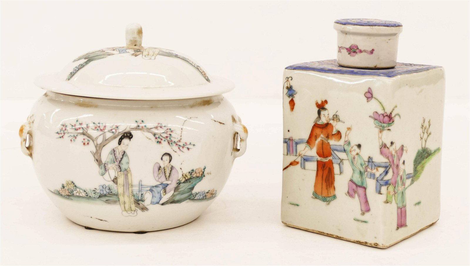 2pc Chinese Republic Porcelain Jar and Tea Caddy.