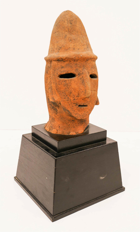 Japanese Kofun Terracotta Haniwa Head Fragment on Stand