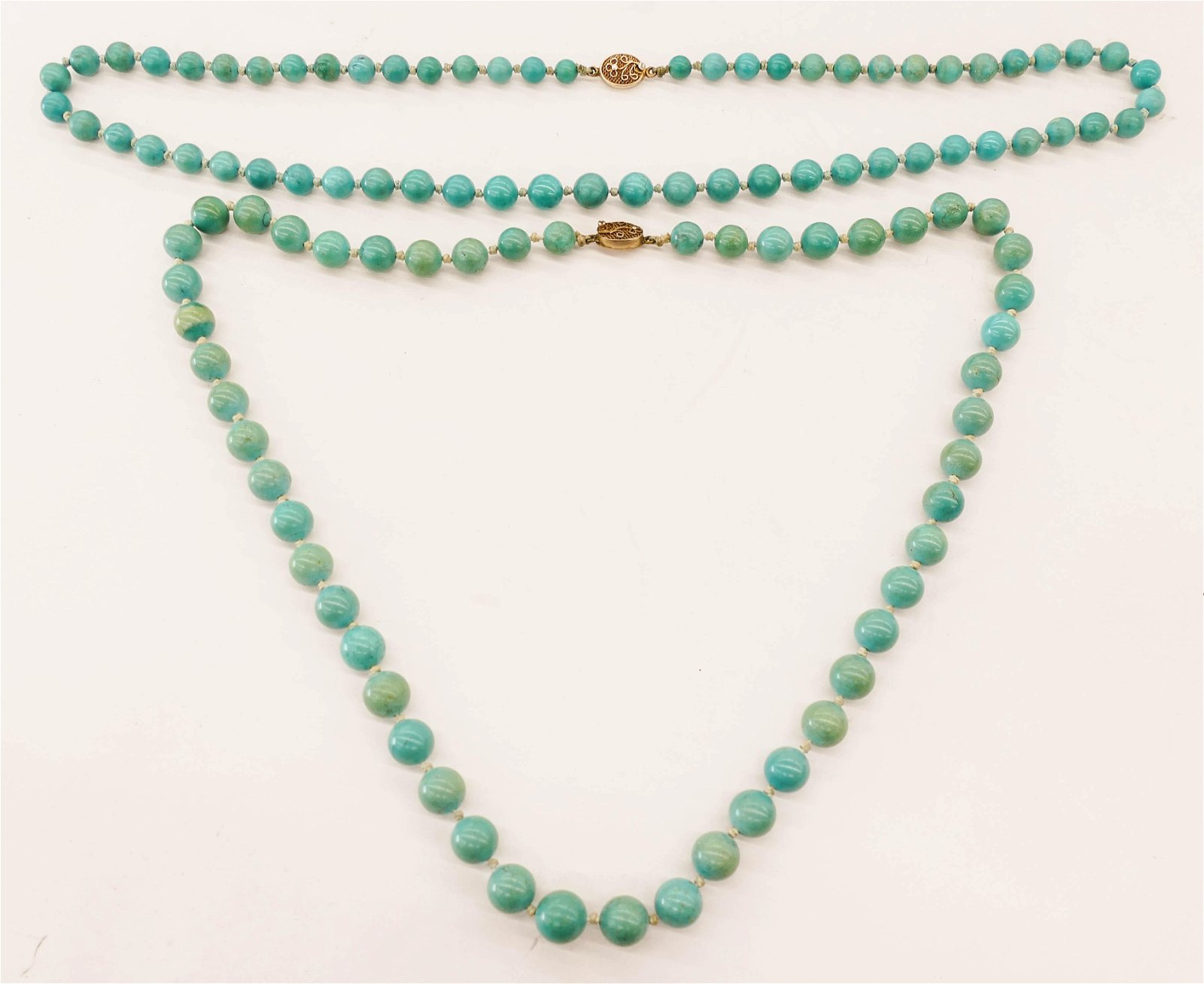 2pc Chinese Turquoise Bead Necklaces 25'' Each.