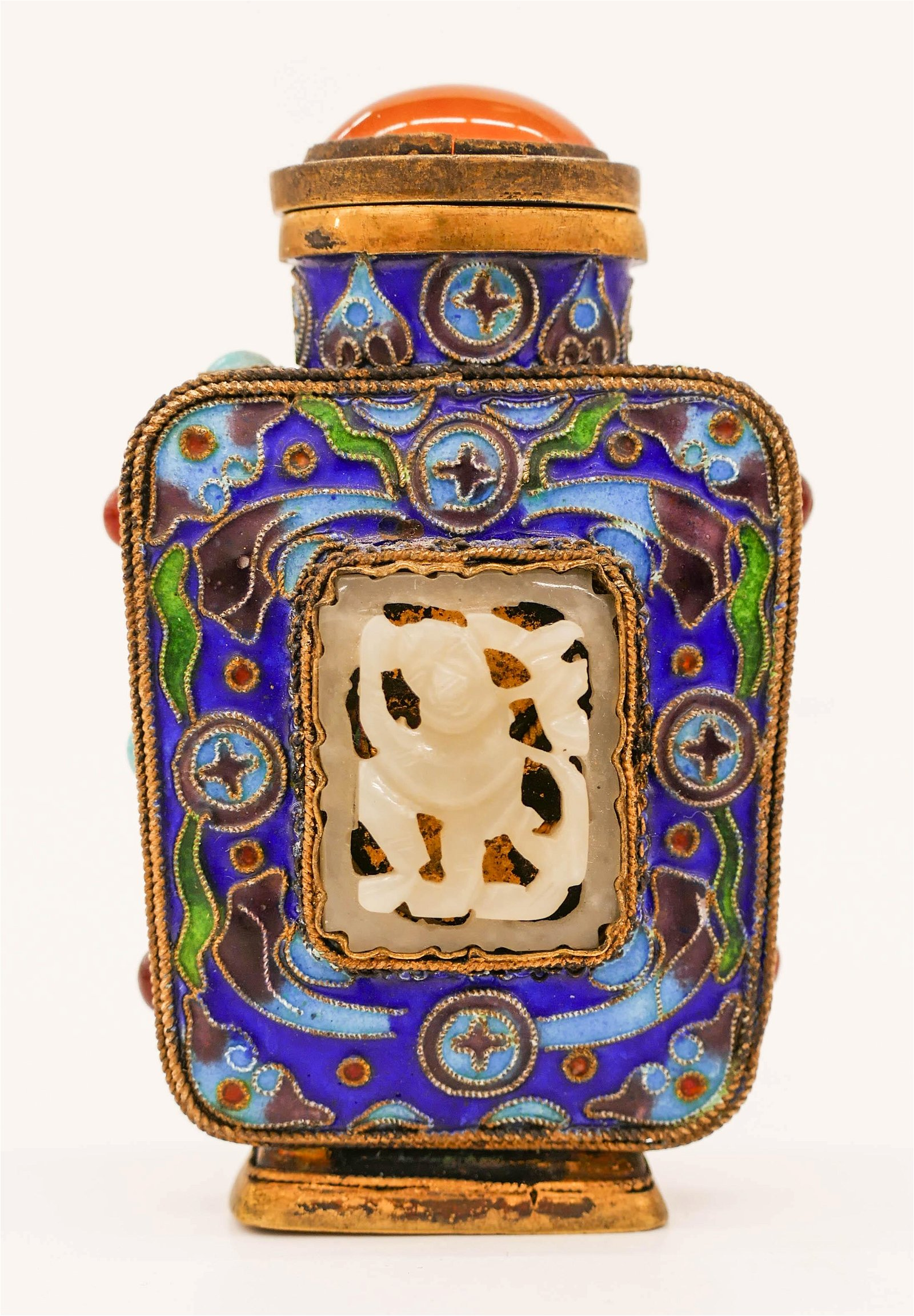 Chinese Enameled Silver & Jade Snuff Bottle