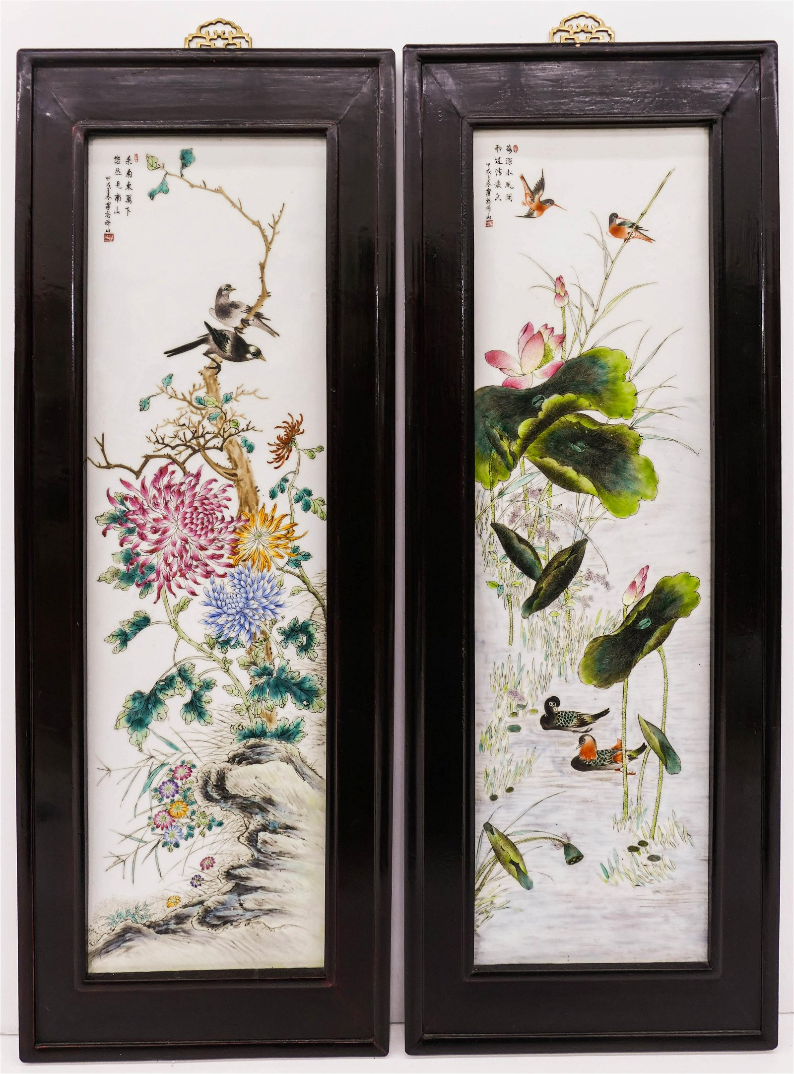 Pair Chinese Republic Painted Porcelain Plaques Framed