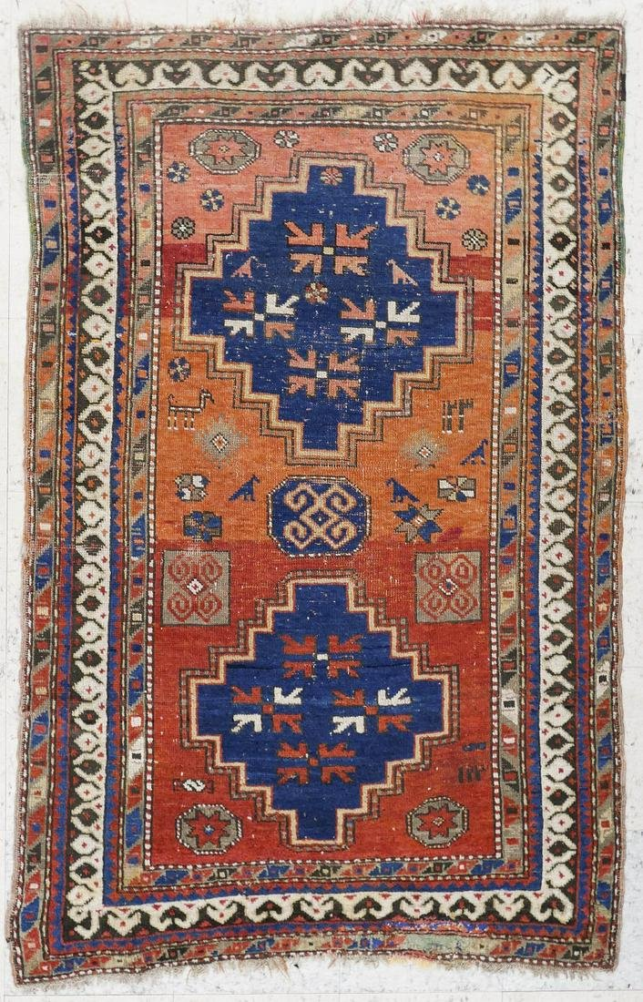 2pc Antique Caucasian Oriental Rugs. Includes a zig-zag