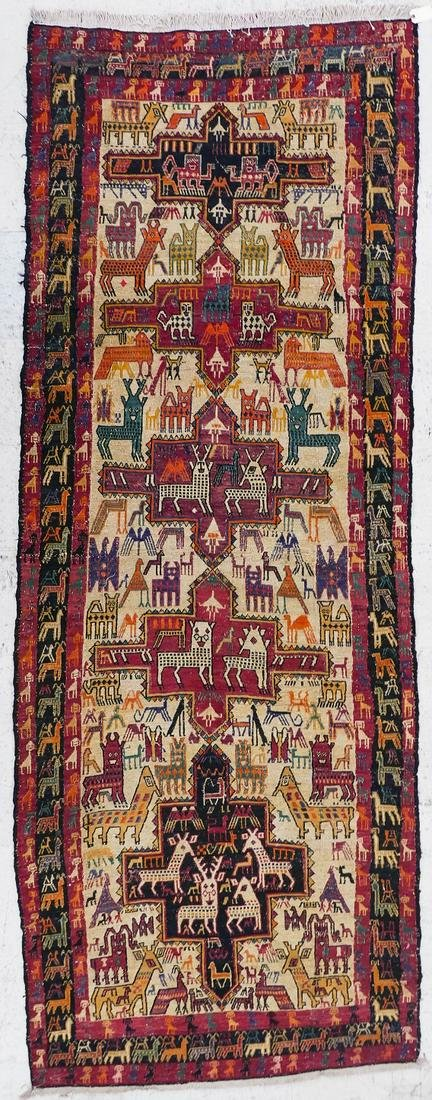 Turkoman Soumak Flat Weave Rug with Animals