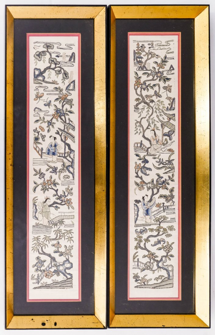 Pair Chinese Forbidden Stitch Silk Sleeve Panels Framed