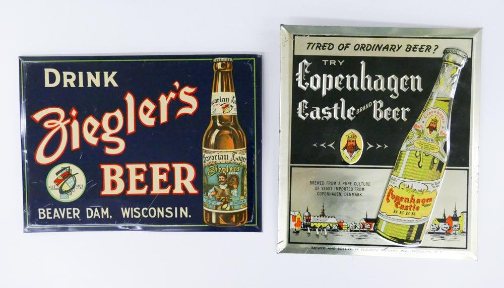 2pc Vintage Beer Tin Display Signs