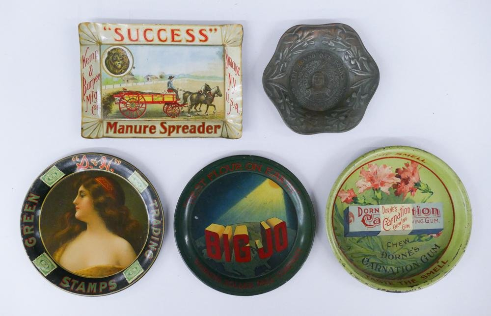 5pc Antique Advertising Tin Tip Trays