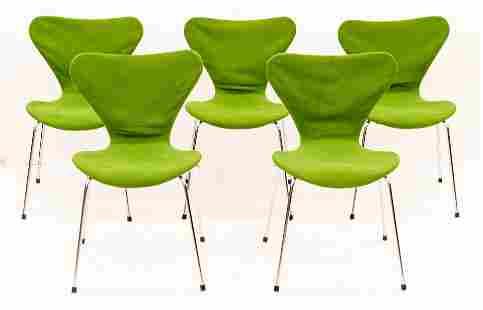 Set of 5 Arne Jacobsen for Fritz Hansen Green Series 7