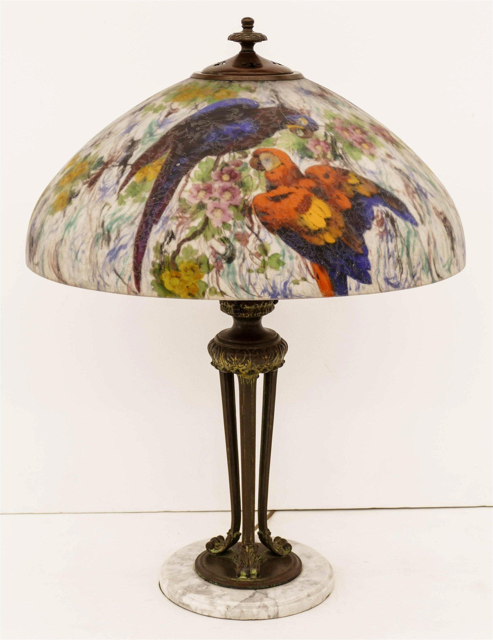Impressive Handel Parrots Reverse Painted Shade Table