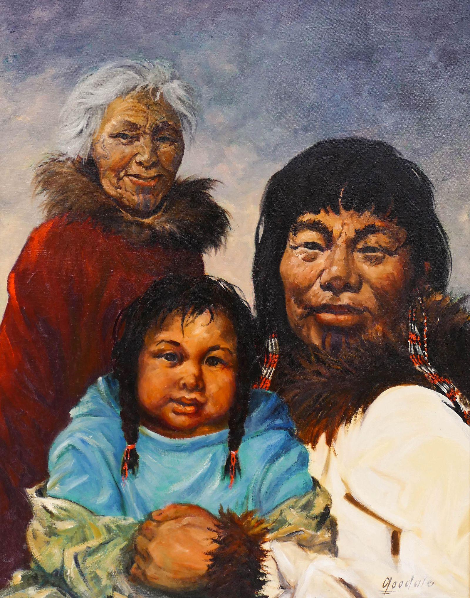 Harvey Goodale (1900-1980 Alaska) Eskimo Family Oil on