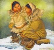 Joan Kickbush (1926-2006 Alaska) Eskimo Mother and