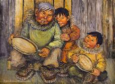 Joan Kickbush (1926-2006 Alaska) Eskimo Family Drumming