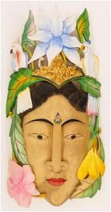 Merta Nadi Balinese Woman Mask Carved Painted Wood
