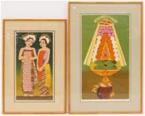 2pc Dorr Bothwell (1902-2000 California) Balinese Women