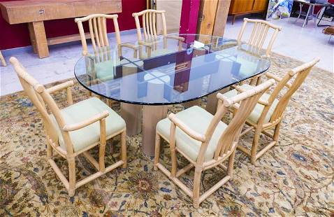 6pc McGuire Rattan Glass Top Oval Dining Set Includes