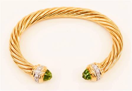 David Yurman 18k Peridot Diamond Cable Bracelet 7mm. A