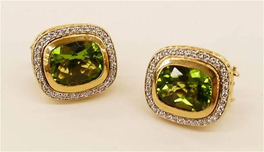 David Yurman 18k Peridot Diamond Earrings 17x19mm.