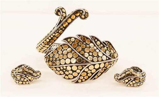 John Hardy 18k Sterling Ayu Leaf Bracelet and Earrings