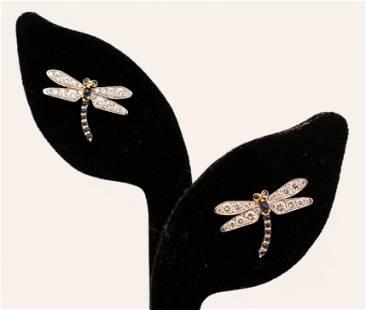 Pair Gimel ''Dragonfly'' 18k Platinum Diamond Sapphire